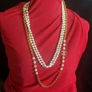 Authentic chanel gold chain and pearl necklace